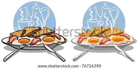 fried eggs with bacon - stock vector