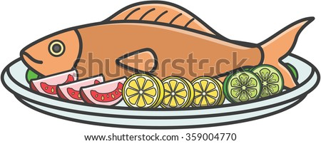 Fried fish cute doodle illustration design