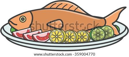 Fried fish cute doodle illustration design - stock vector