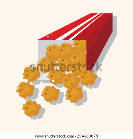 Fried foods theme chicken nuggets elements - stock vector
