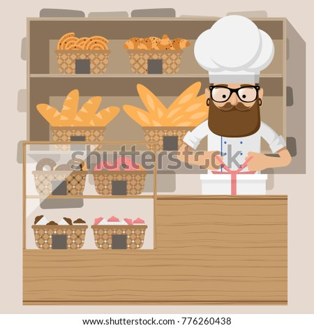 Friendly baker standing in front of shelf with pastry. Baker at bakery shop. Baker is tying bow-knot on the box with cakes. Vector flat design illustration. Square layout.
