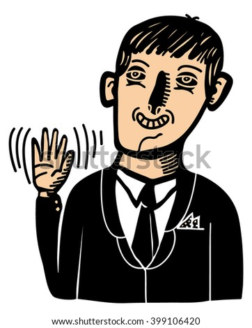 Friendly businessman saluting - stock vector