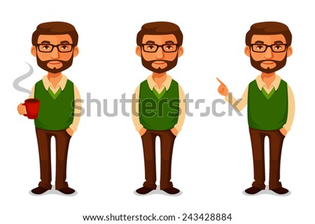 friendly cartoon guy in casual clothes - stock vector