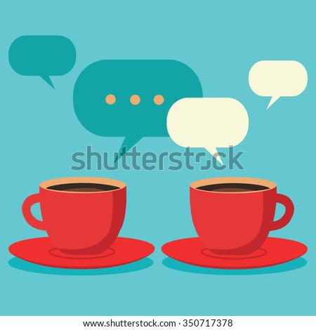 Friendly chat over coffee, two cups of coffee vector concept - stock vector