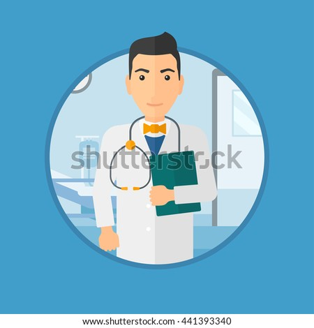 Friendly doctor with stethoscope and a file in medical office. Male doctor carrying folder of patient or medical information. Vector flat design illustration in the circle isolated on background. - stock vector