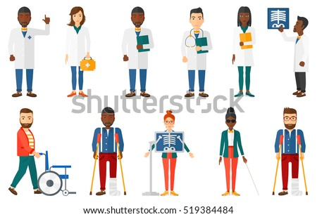 Friendly doctor with stethoscope holding a folder with medical records of a patient. Doctor carrying file with medical records. Set of vector flat design illustrations isolated on white background.