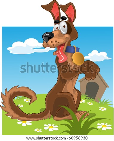 Friendly fun dog on color background - stock vector