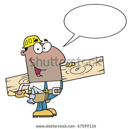 Friendly Hispanic Construction Worker Carrying A Wood Board With Speech Bubble - stock vector