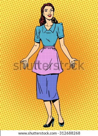 Friendly housewife beautiful woman retro style pop art. Young girl in casual clothes encounters. Wife or mother - stock vector