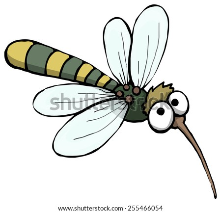 Friendly mosquito character, vector illustration - stock vector