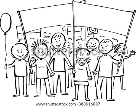 Friendly people public gathering - wonderful vector drawing with a place left for your slogan