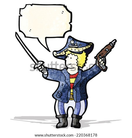friendly pirate with speech bubble cartoon