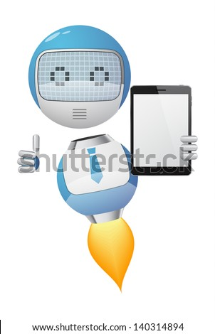 Friendly robot with thumb up showing a tablet pc. EPS10 vector. - stock vector