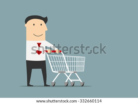 Friendly smiling cartoon businessman with empty shopping cart, ready for shopping - stock vector