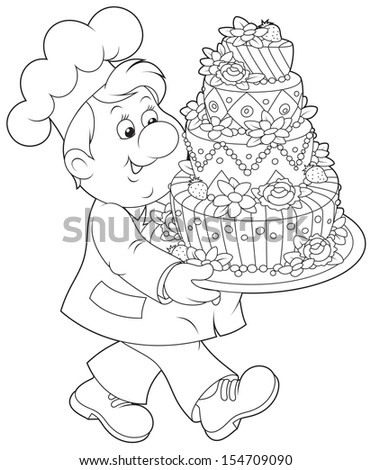Friendly smiling confectioner carrying a decorated holiday cake - stock vector