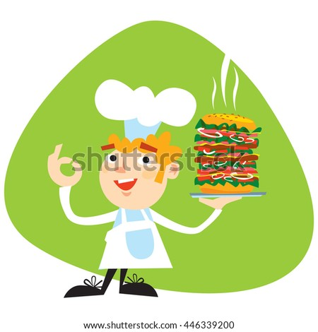 Friendly smiling young Chef with big Chef's hat blond hair and whiskers showing big Hamburger on green background. Vector based cartoon style.