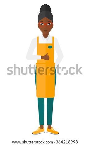 Friendly supermarket worker. - stock vector