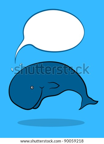 Friendly Whale swimming underwater with blank Speech Bubble, cartoon illustration - stock vector