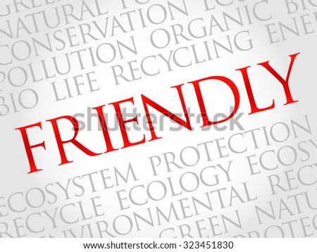 Friendly word cloud, environmental concept - stock vector