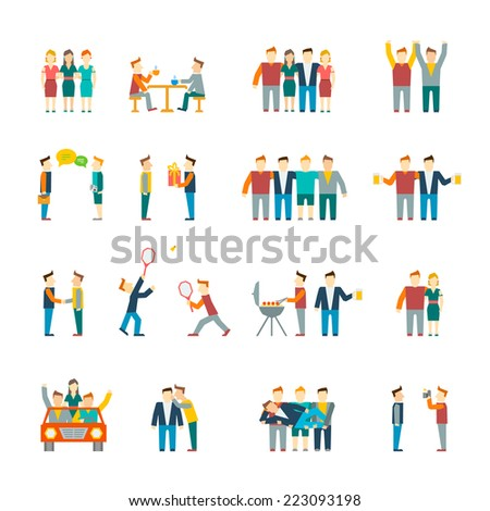 Friends and friendly relationship social team flat icon set isolated vector illustration - stock vector