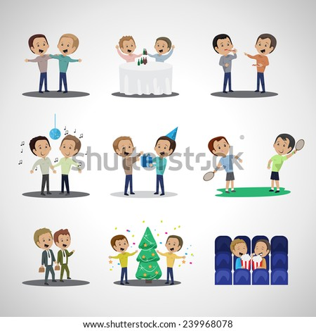 Friends And Friendship, Social People Set - Isolated On Gray Background - Vector Illustration, Graphic Design, Editable For Your Design  - stock vector