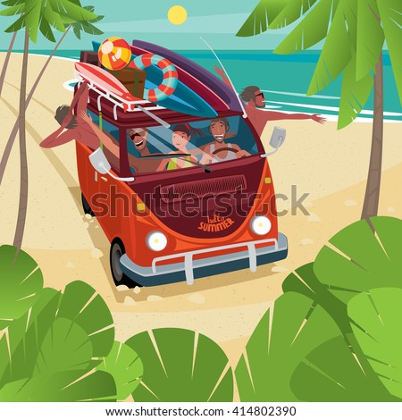 Friends arrived in funny minibus to the beach. Surfboards on the roof of the car - Surfing or vacation concept. Vector illustration - stock vector