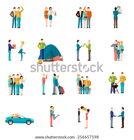 Friends company teamwork togetherness and brotherhood concept icons set isolated vector illustration - stock vector