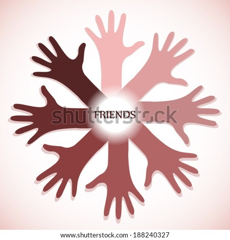 Friends concept poster with many hands icon on red white gradient background art