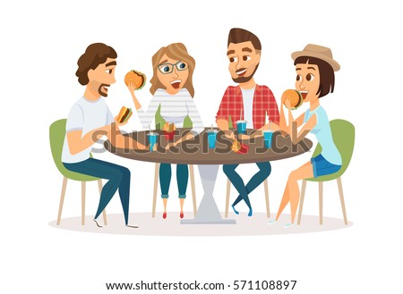 Friends eating fast food meal in restaurant  Group of happy people sitting   talking and. People Eating Stock Images  Royalty Free Images   Vectors