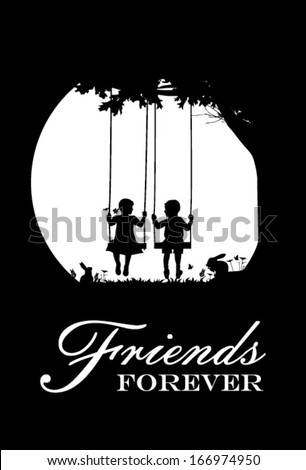 Friends forever, vector - stock vector