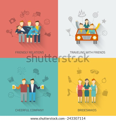 Friends icons flat set with friendly relations travelling cheerful company bridesmaids isolated vector illustration - stock vector