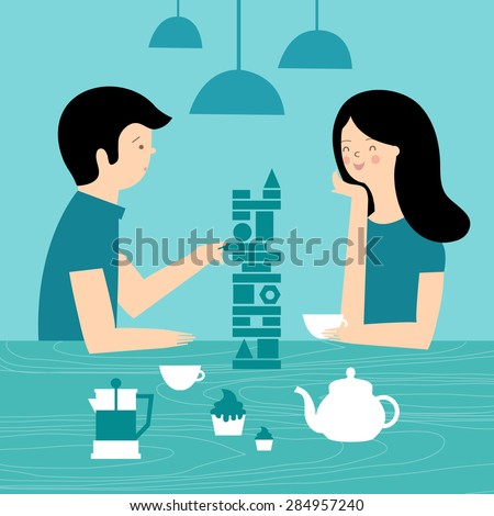 Friends in cafe playing board games. A couple at a dinner in a cafe. Vector illustration - stock vector