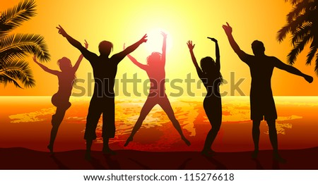 Friends party on beach - stock vector