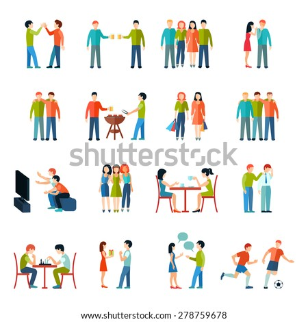 Friends relationship people society icons flat set isolated vector illustration - stock vector