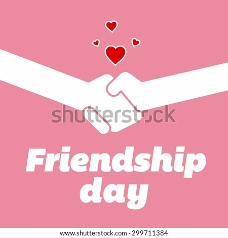 Friends Shakehand Friendship Day -  Elegant beautiful card design for friendship day. vector illustration - stock vector
