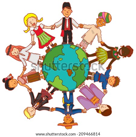 Friendship beyond frontier with people from all culture over the world hold hands together in a circle. It's a peace concept, create by vector - stock vector