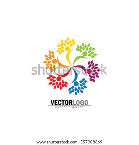 friendship tree template - friendship bonding together organic people logo stock