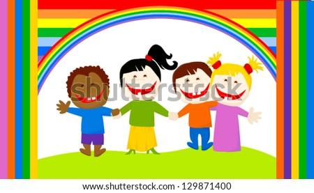 friendship children - stock vector