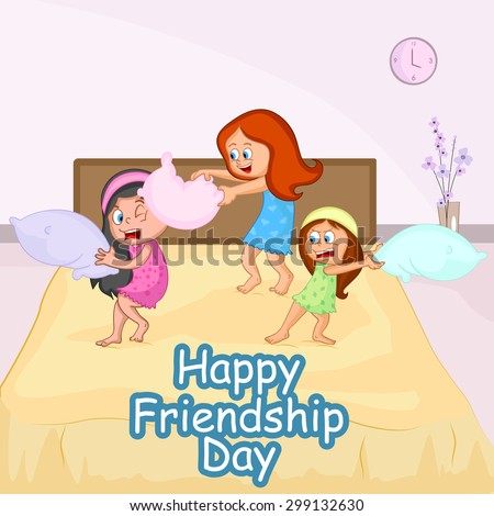 Friendship Day background with friends in vector - stock vector