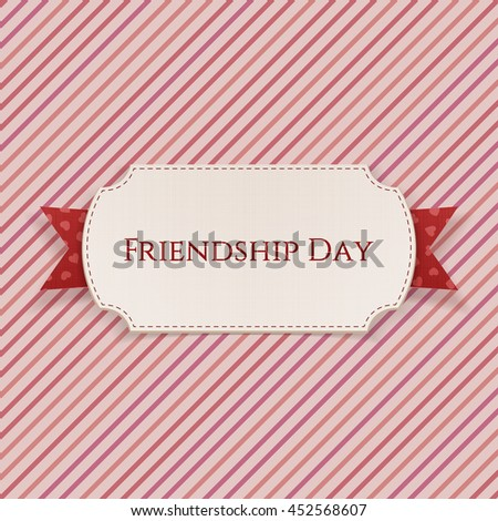 Friendship Day Card on red Ribbon