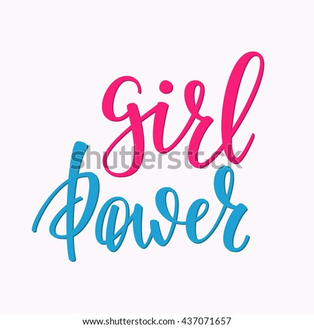 Friendship Family Girl Positive quote lettering. Calligraphy postcard or poster graphic design typography element. Hand written vector postcard. Girl Power