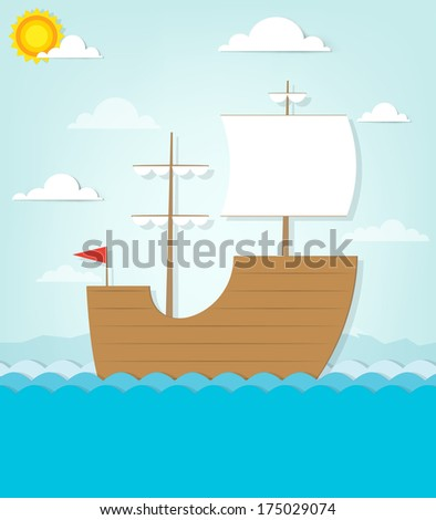 frigate sails on the sea - stock vector