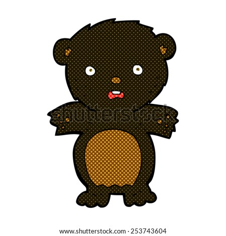 frightened black bear retro comic book style cartoon - stock vector