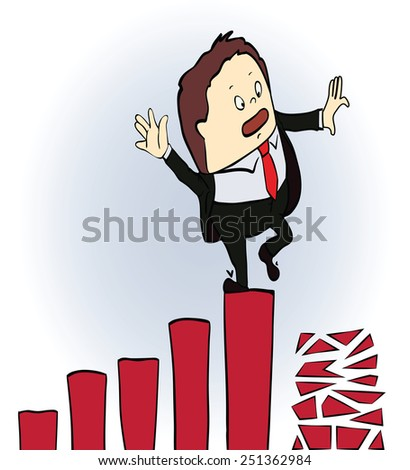 frightened businessman on a chart going down, Cartoon vector illustration - stock vector