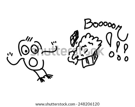 Frightened character and gift with popping surprise - stock vector