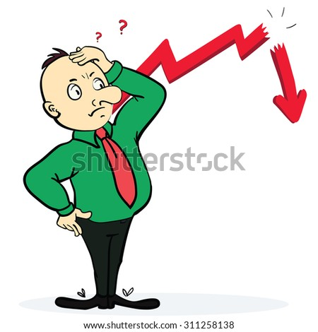 Frightened man near broken arrow and going down. Cartoon illustration. Concept. Vector - stock vector