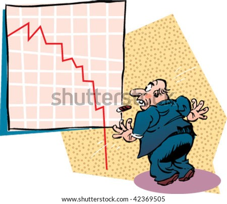 Frightened manager looking at a crisis graphic