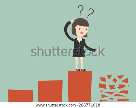 frightened woman in a chart going down - stock vector
