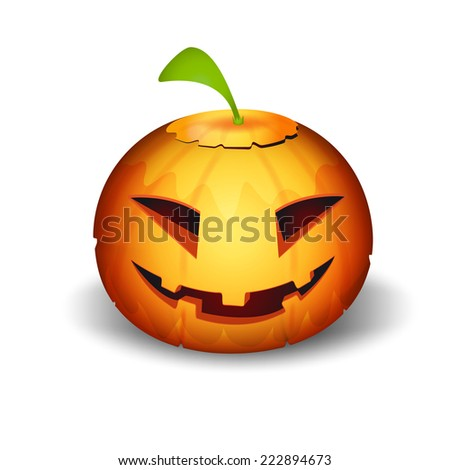 frightful halloween pumpkin vegetable.vector illustration