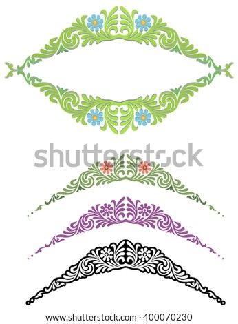 frilly decorative element with variations - stock vector